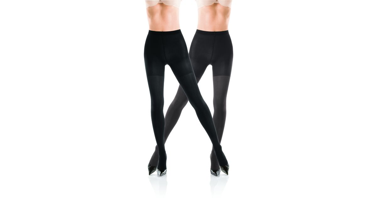 Opaque Charcoal Tights With Black Shoes