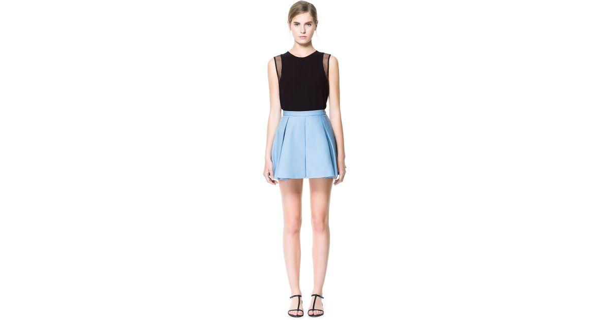 zara pleated mini skirt in blue lavender lyst