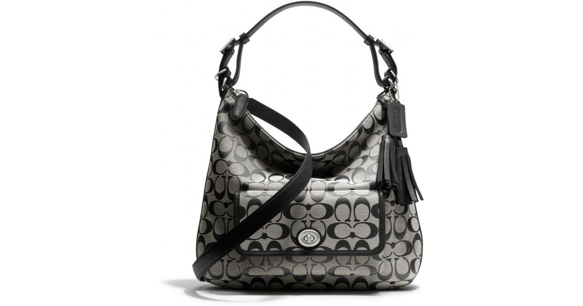74f70f11f02fe ... clearance lyst coach legacy courtenay hobo shoulder bag in signature  fabric in black 9b92a e5660