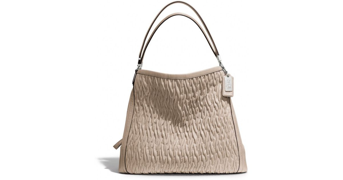 5f7afb00b23e Lyst - COACH Madison Phoebe Shoulder Bag in Gathered Twist Leather in  Natural
