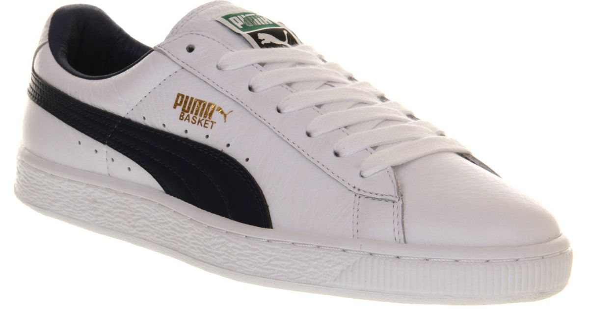 99bd12081657 Lyst - PUMA Basket Classic White Blue Leather in White for Men