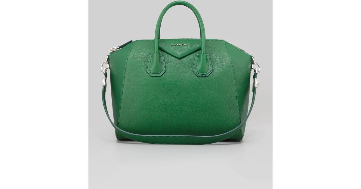 151e66022a69 Lyst - Givenchy Antigona Medium Sugar Goatskin Satchel Bag Emerald in Green