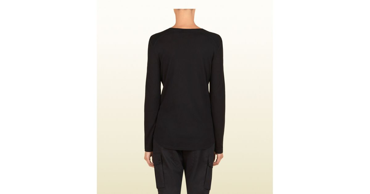 5a296074d Gucci Women's Black Silk Jersey Long Sleeve T-shirt From Viaggio Collection  in Black for Men - Lyst