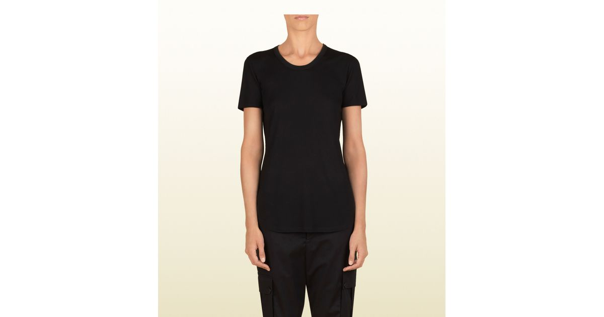 3428c5201 Gucci Women's Black Short Sleeve T-shirt From Viaggio Collection in Black  for Men - Lyst