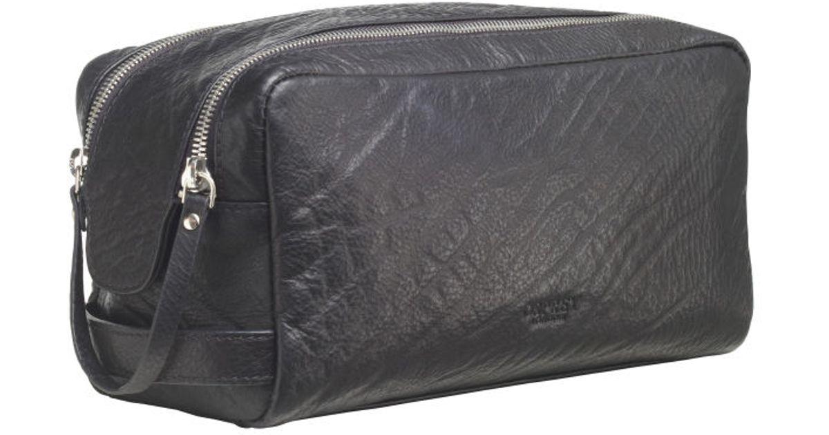 5d3c925ba1 Osprey London The Freddie Shrunken Grain Leather Washbag in Gray for Men -  Lyst