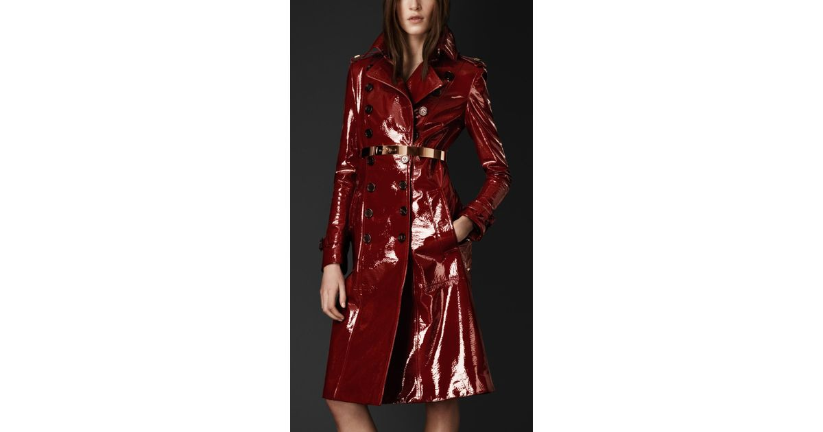a69d834e96c Lyst - Burberry Laminated Leather Trench Coat in Red