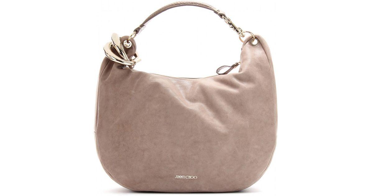 8b8b317692d5 Jimmy Choo Solar L Leather Hobo Bag in Brown - Lyst