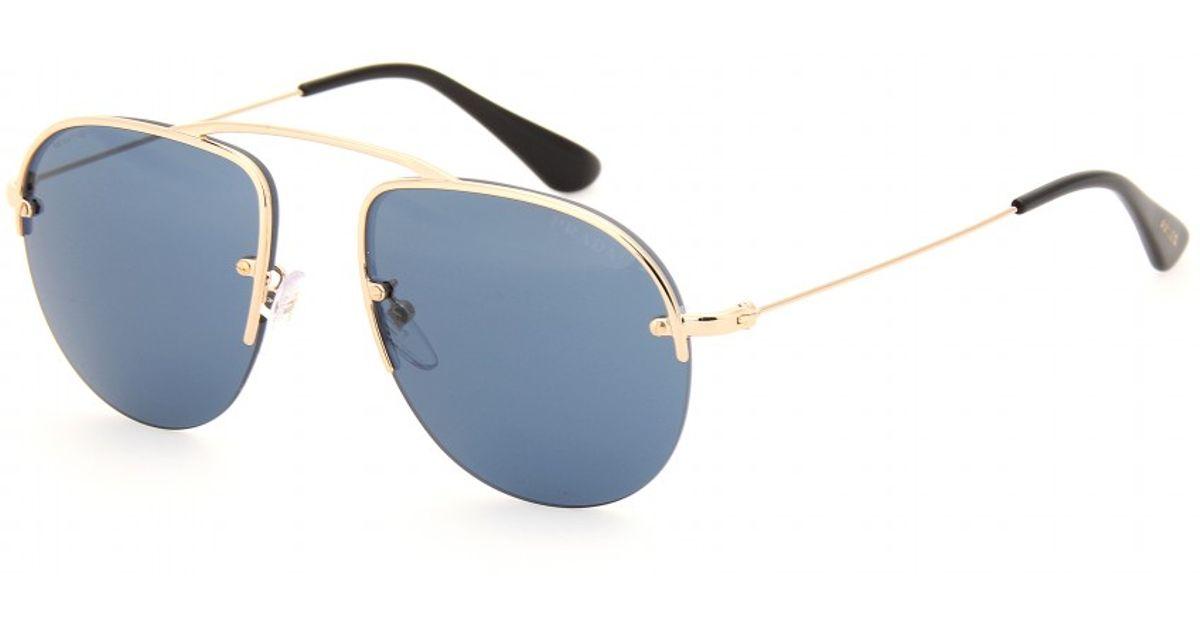 42c678058e2 Lyst - Prada Teddy Aviatorstyle Sunglasses in Blue