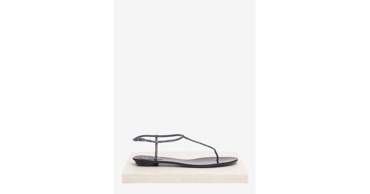 858e6116080 Lyst - Rene Caovilla Crystal-embellished Flat Sandals in Blue
