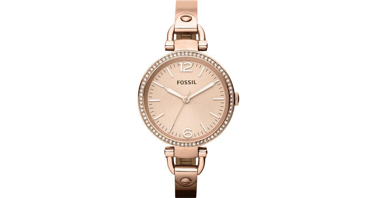 fossil es3226 georgia rose gold toned bracelet watch in. Black Bedroom Furniture Sets. Home Design Ideas