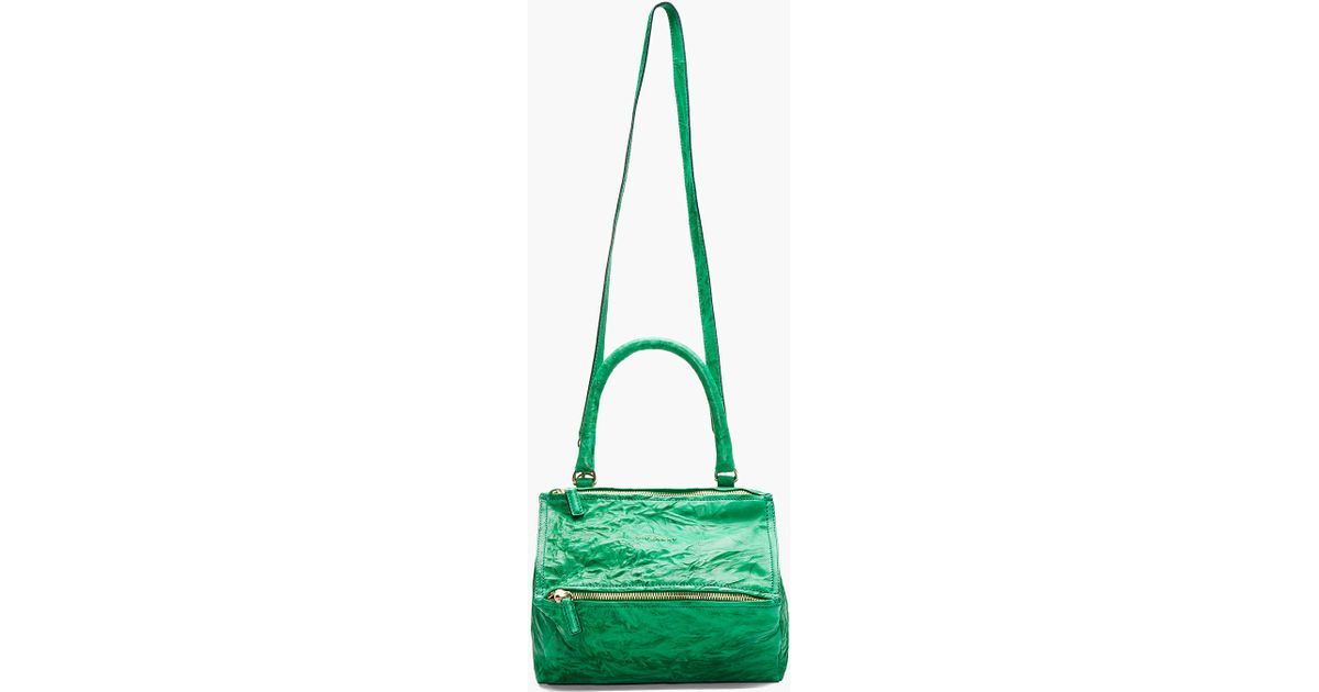 a9a8c44d28 Lyst - Givenchy Emerald Green Crinkled Leather Medium Pepe Pandora in Green