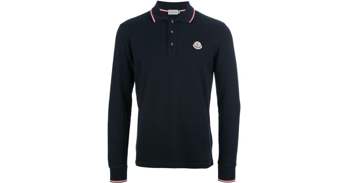 cdf03fc7 Moncler Long Sleeved Polo Shirt in Black for Men - Lyst