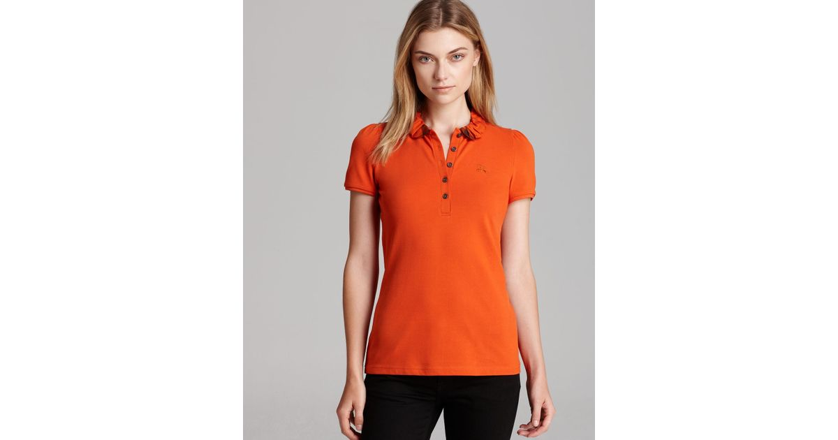 0c3bb0798 Burberry Brit Polo Shirt with Check Collar in Orange - Lyst