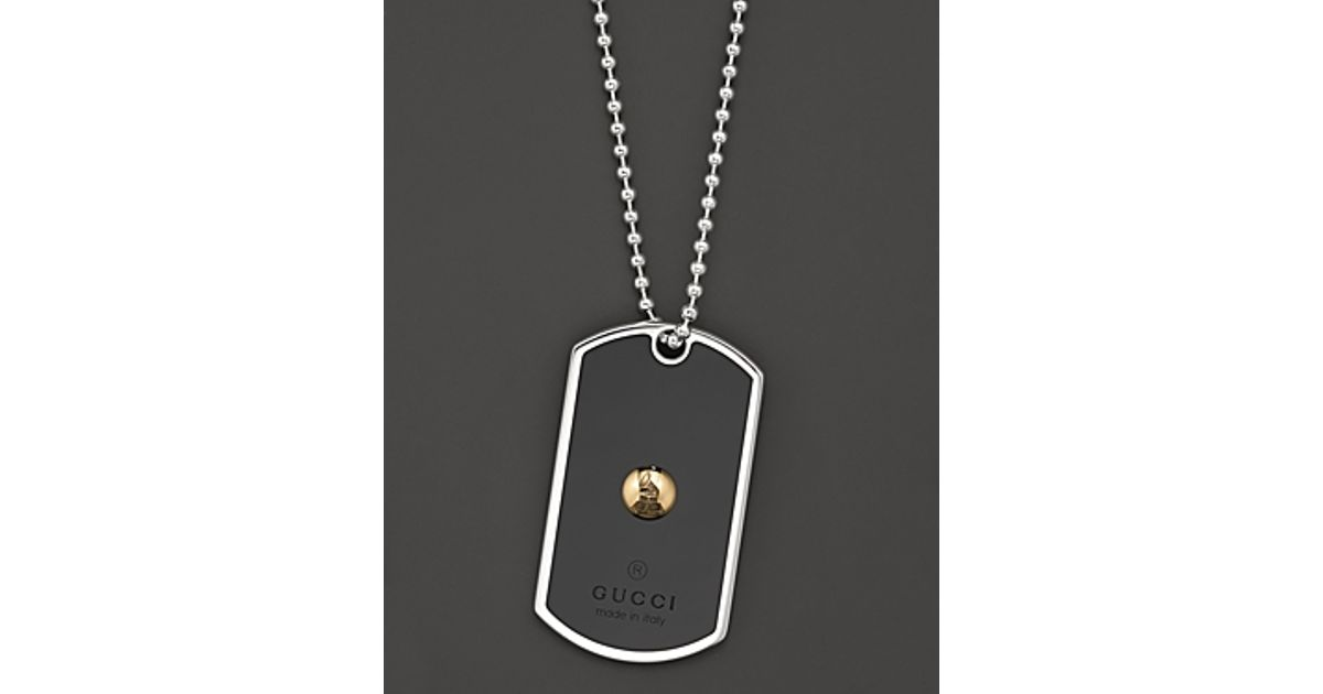 479a86617d4 Lyst - Gucci Sterling Silver 18k Yellow Gold and Black Enamel Grammy Dogtag  Necklace in Black for Men