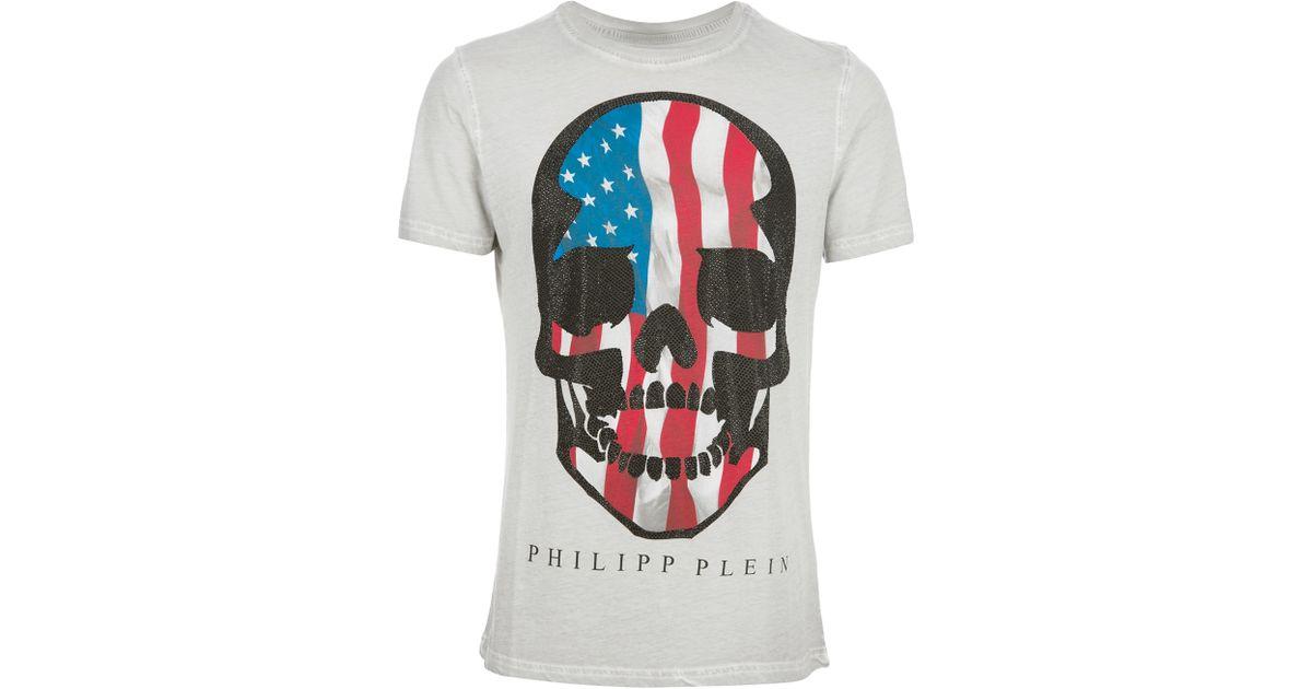 e1b90a4063 Philipp Plein American Skull Print Tshirt in Gray for Men - Lyst