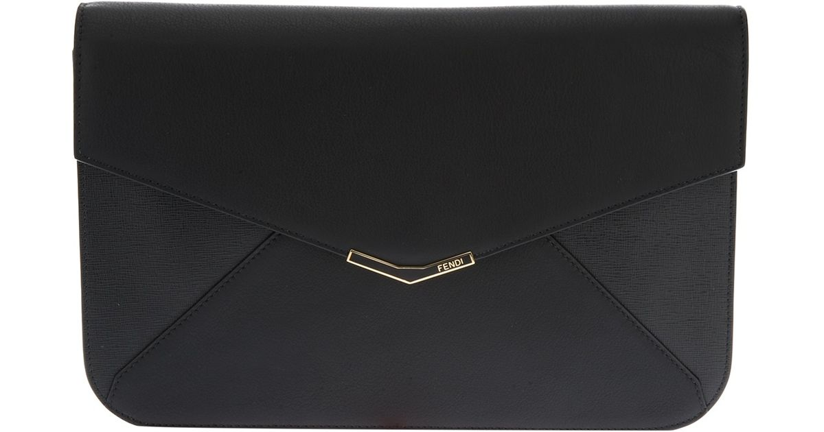 4a7ad12bd72b Lyst - Fendi Envelope Clutch in Black