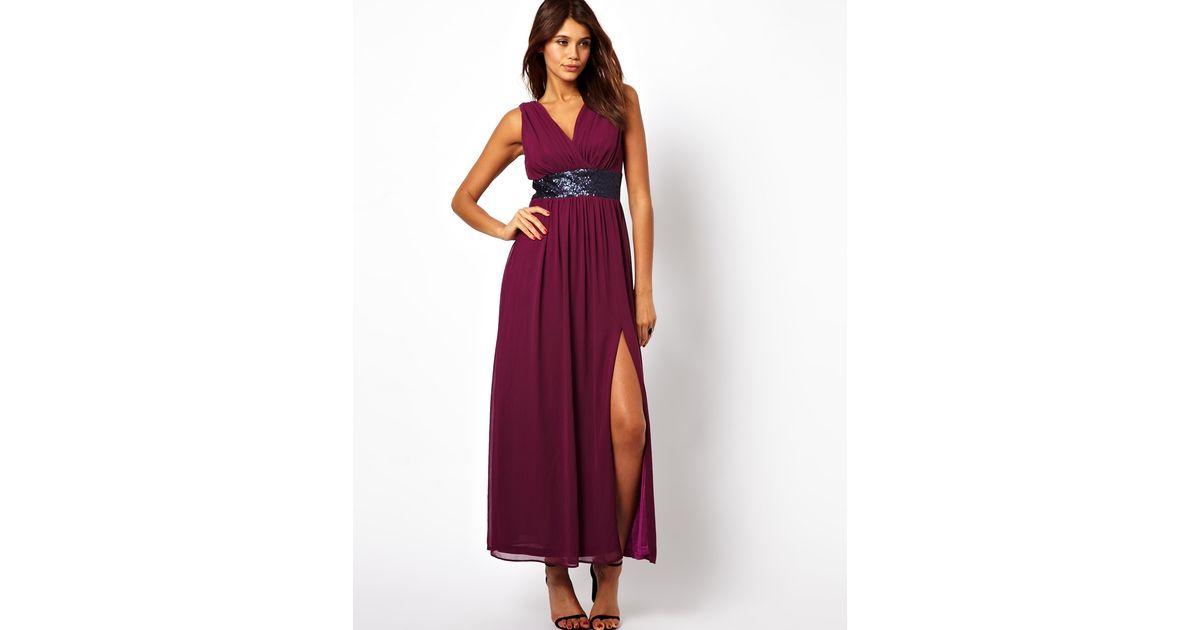 Purple grecian maxi dress
