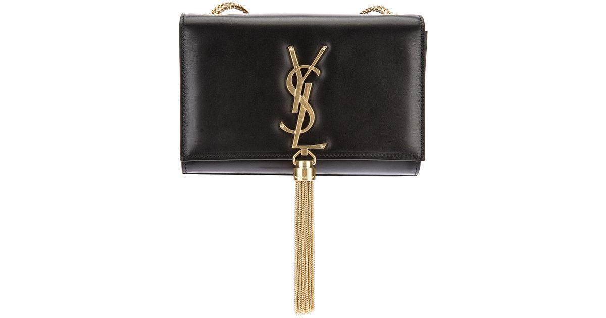 Lyst - Saint Laurent Small Cassandre Tassel Shoulder Bag in Black 2ebcd4df48183