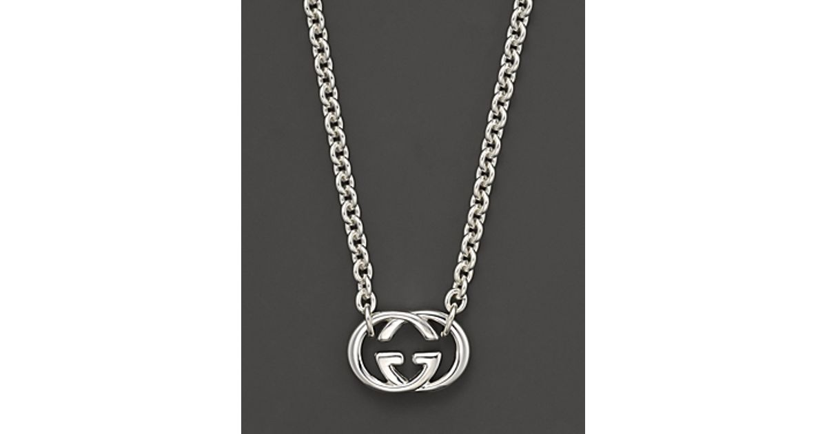 afee2af09 Gucci Sterling Silver Britt Necklace 18 in Metallic - Lyst