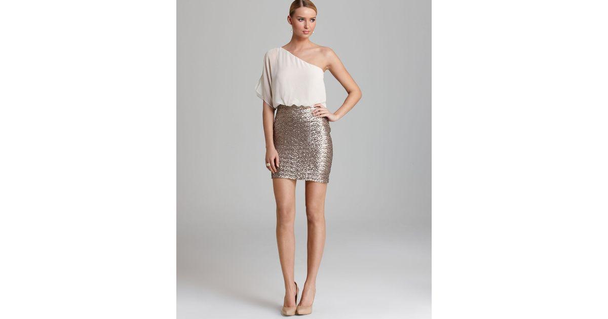 Aidan Mattox One Shoulder Dress Sequin Skirt in Metallic - Lyst
