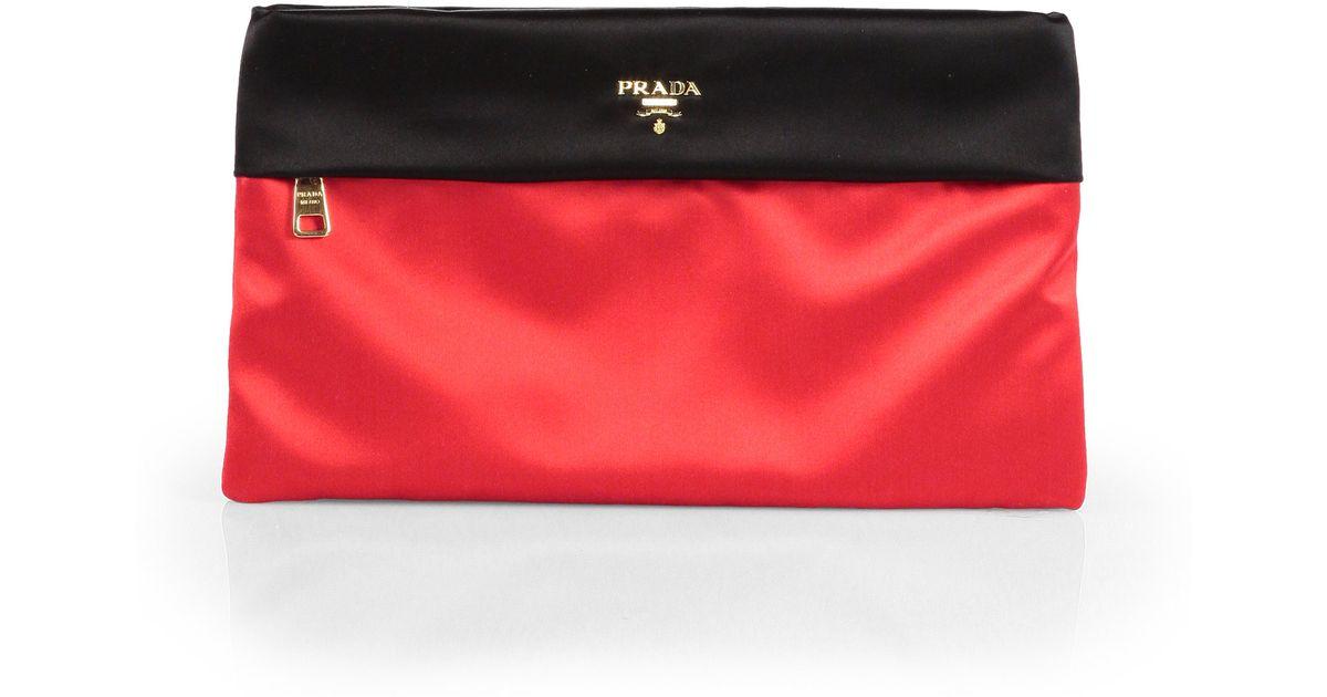 Prada Raso Bicolor Satin Box Clutch in Red (RED BLACK) | Lyst