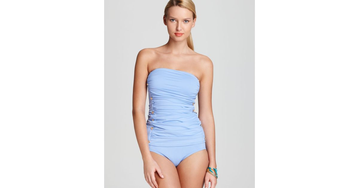3c0d3c6c37 Lyst - Juicy Couture Swimsuit Miss Divine Hearts Button One Piece in Blue