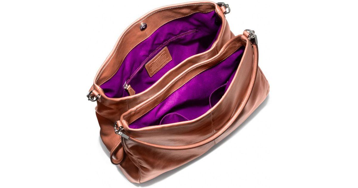 3f5b691b735e ... Coach Madison Phoebe Shoulder Bag in Metallic Leather in Metallic Lyst  ...