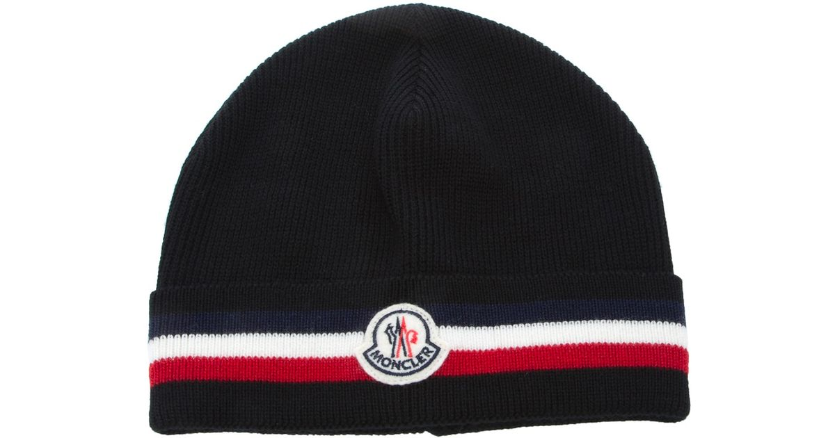 351b10b1a8b Lyst Moncler Beanie Hat In Black For Men. Moncler Virgin Wool Beanie