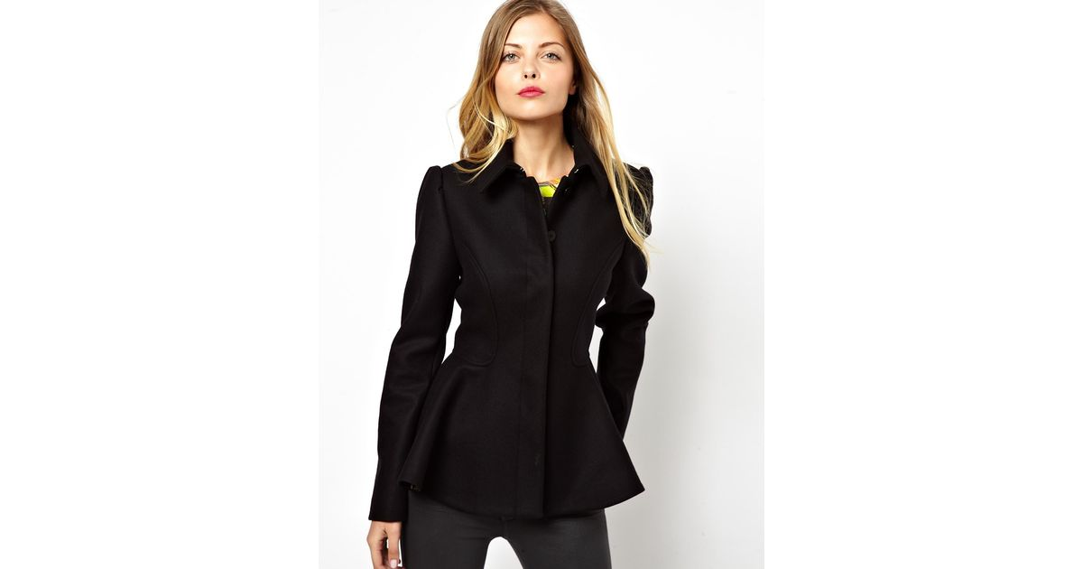 7cc781cde Lyst Ted Baker Short Coat With Peplum In Black