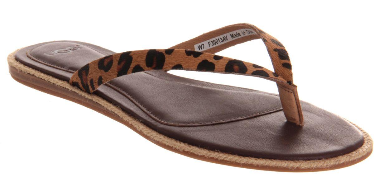 90e55d130 Lyst - UGG Allaria Leopard Flip Flop in Brown