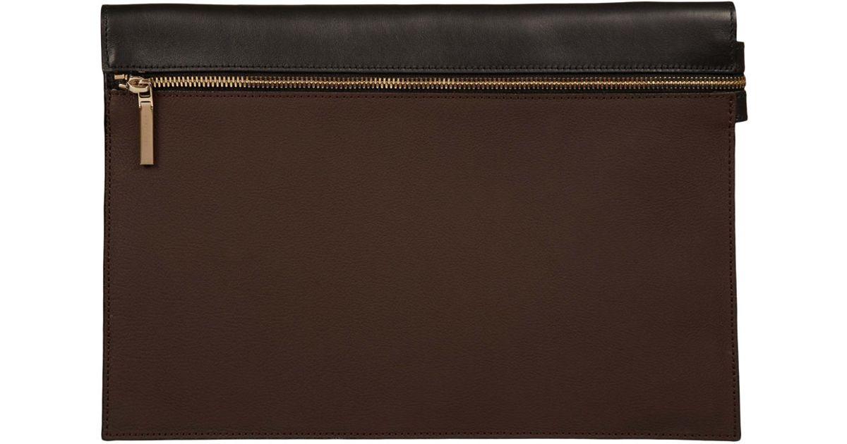 Victoria beckham Large Dark Brown Zip Pouch Clutch Bag in Brown | Lyst