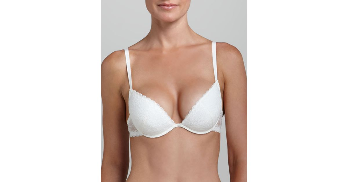 bc5c452fe6e43 Lyst - La Perla Rosa Floral-Lace Push-Up Plunge Bra - Black (34D) in White