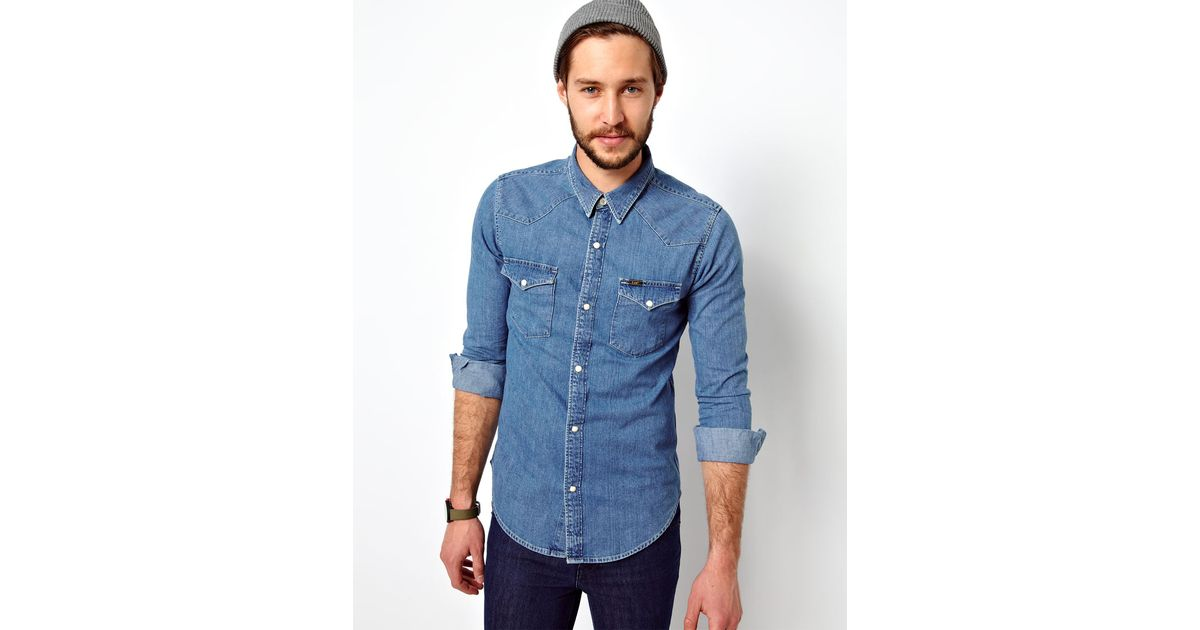 da813caf6af Lyst - Lee Jeans Denim Shirt Western Slim Fit Light Stone in Blue for Men