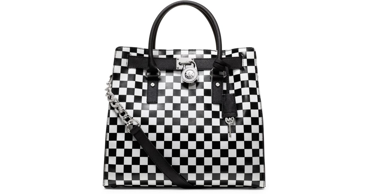 bef4642a76db36 53d34 0691f; release date michael kors michael large hamilton checker board  print tote in white lyst 80059 89a5c