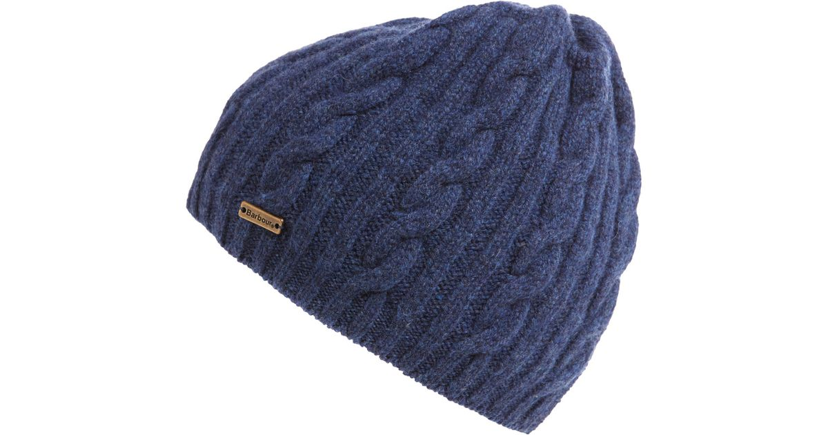 9eba83a8280 Lyst - Barbour Navy Cable Knit Beanie in Blue for Men