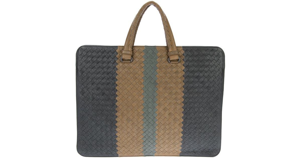 5d6d479f65d4 Lyst - Bottega Veneta Striped Woven Briefcase in Gray for Men