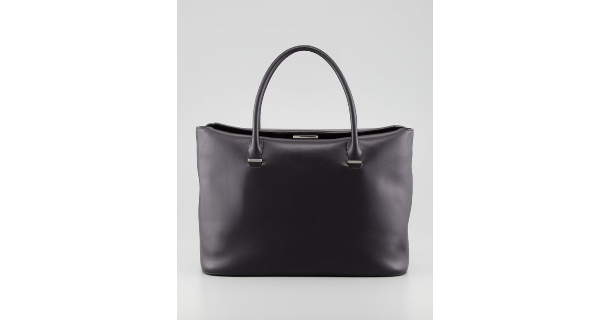 The row The Carry All Leather Tote Bag in Black | Lyst