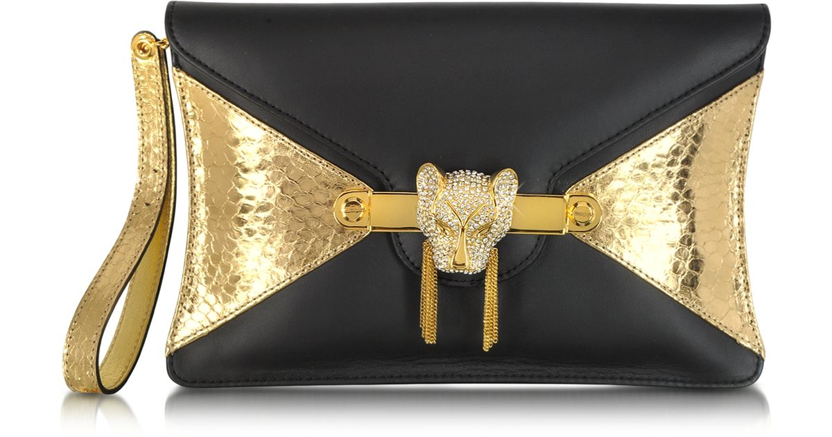 e88717a473 Thale Blanc Toni Nappa Leather and Golden Python Clutch in Metallic - Lyst