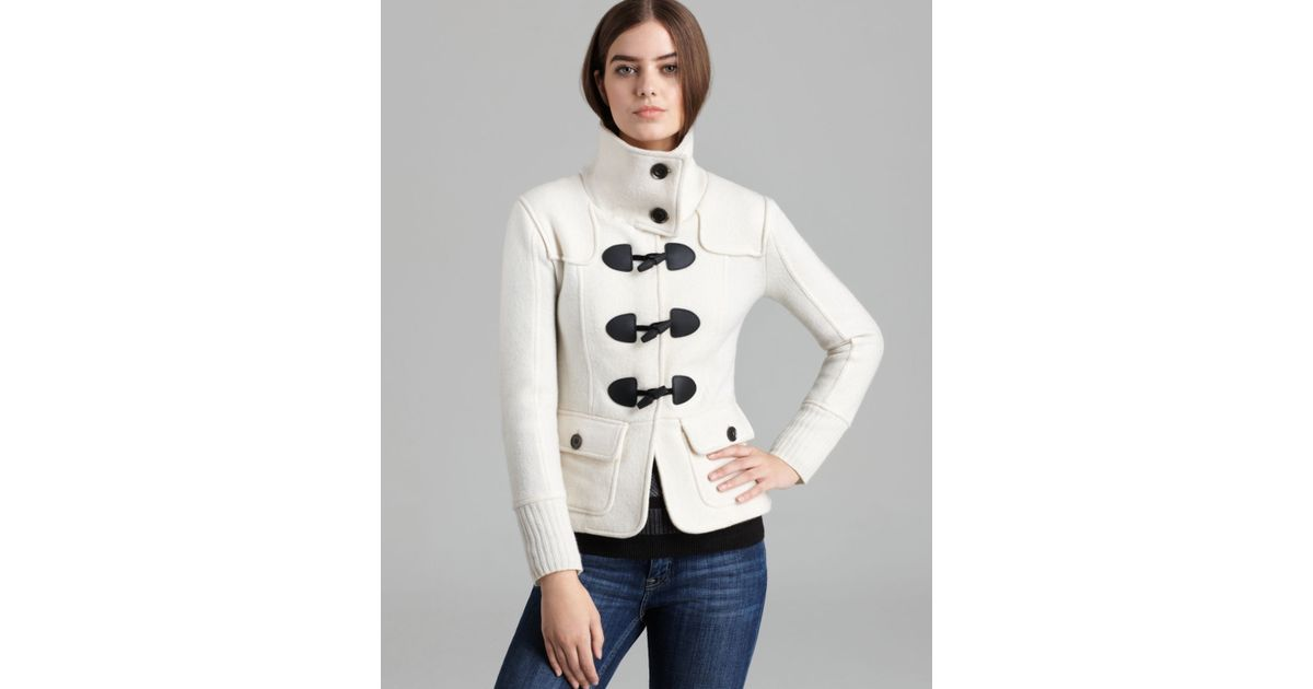 Burberry brit Toggle Zip Sweater Jacket in White | Lyst