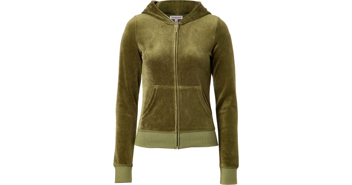 c7bd7d834ee0 Lyst - Juicy Couture Velour Juicy Varsity Hoodie in Dill in Green