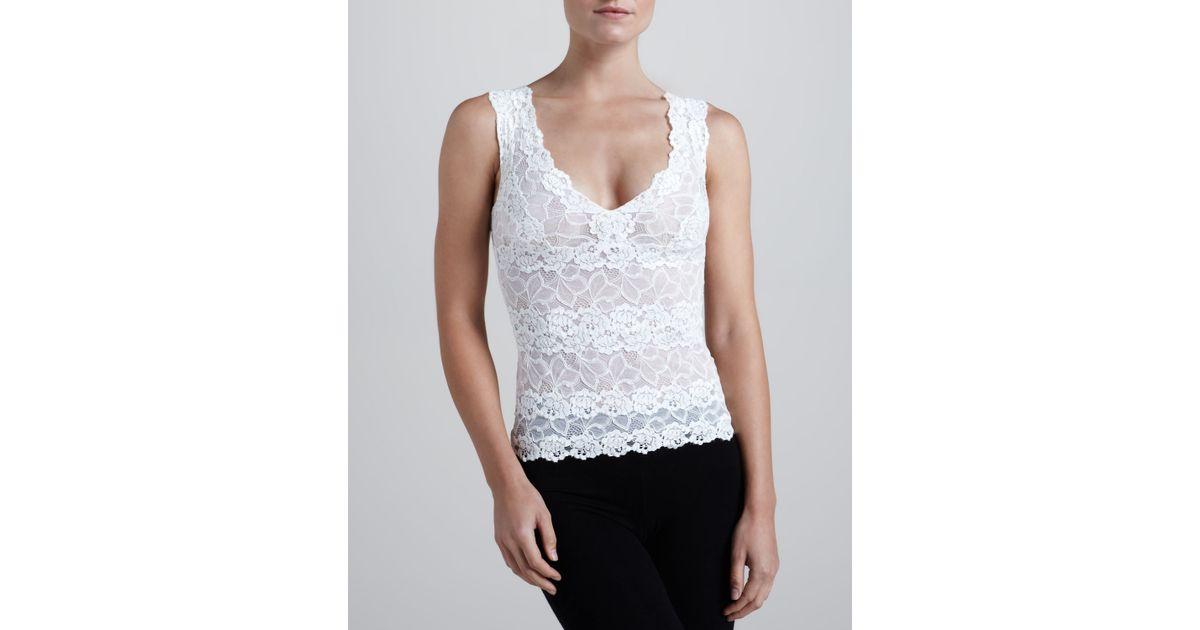 8ed6e860b55131 Lyst - Josie Natori Rose Parfait Lace Tank Top in Black