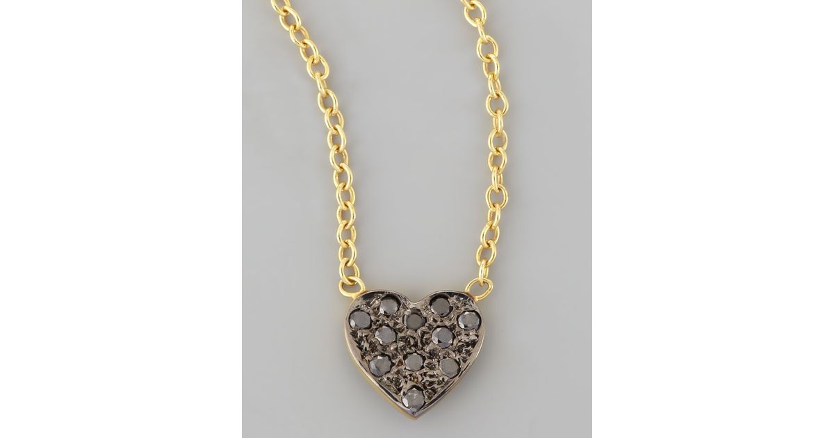 Lyst kacey k mini black diamond heart pendant necklace in metallic mozeypictures Images