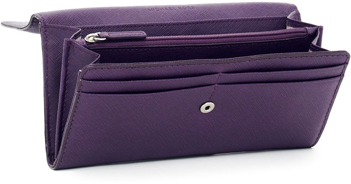 aea2ae4d852c Lyst - MICHAEL Michael Kors Hamilton Large Saffiano Wallet in Purple