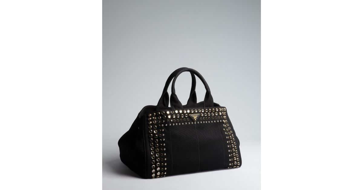 Prada Black Canvas Jeweled Trim Top Handle Bag in Black | Lyst