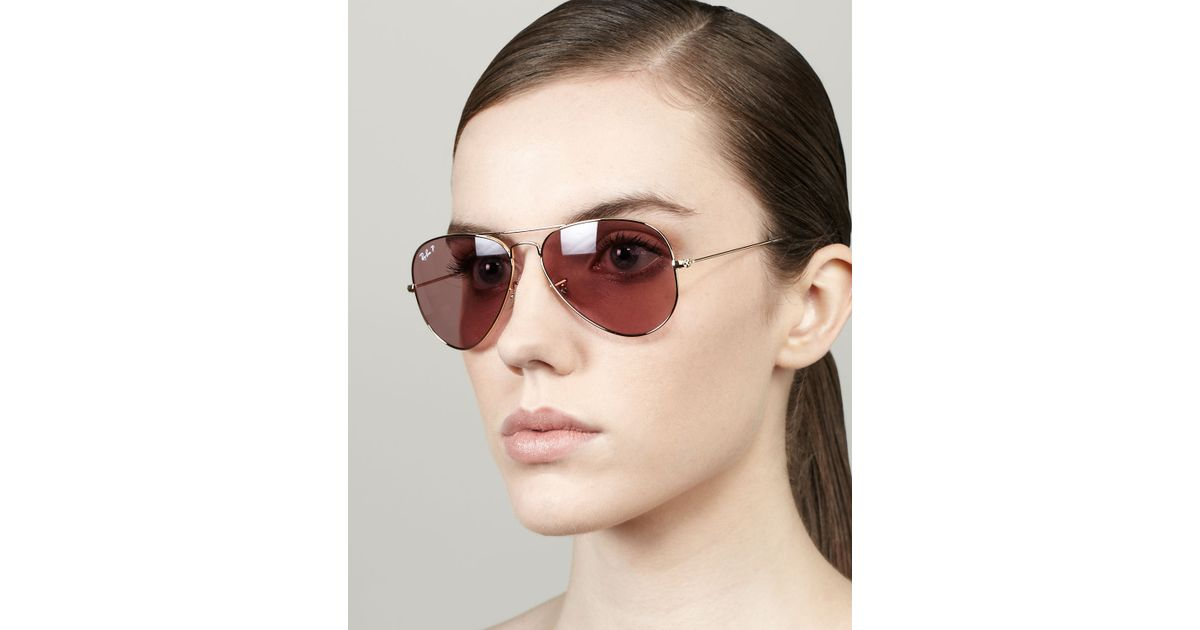 c5832194512ff Lyst - Ray-Ban Polarized Aviator Sunglasses Crystal Pink in Pink