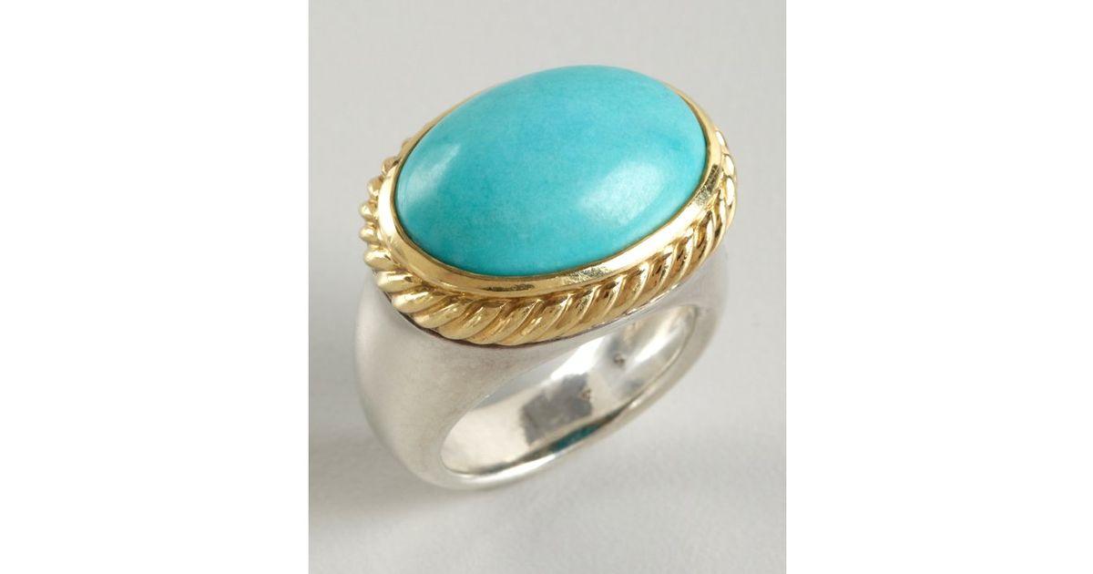 Lyst - David Yurman Turquoise Signature Oval Stone Ring in Metallic