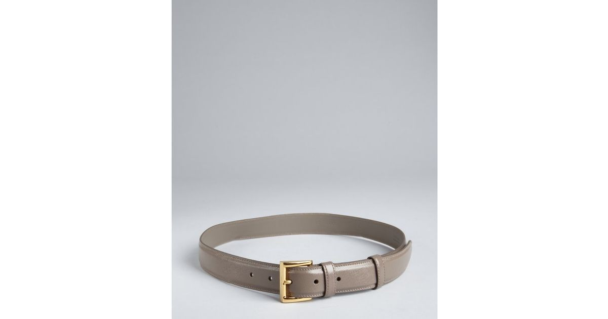 Prada Saffiano Leather Square Buckle Belt in Gray for Men (cement ...