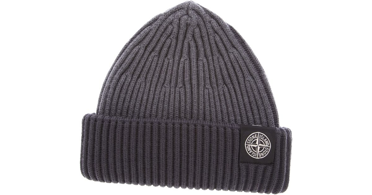 7f329fa7b4d63 Stone Island Ribbed Beanie in Gray for Men - Lyst