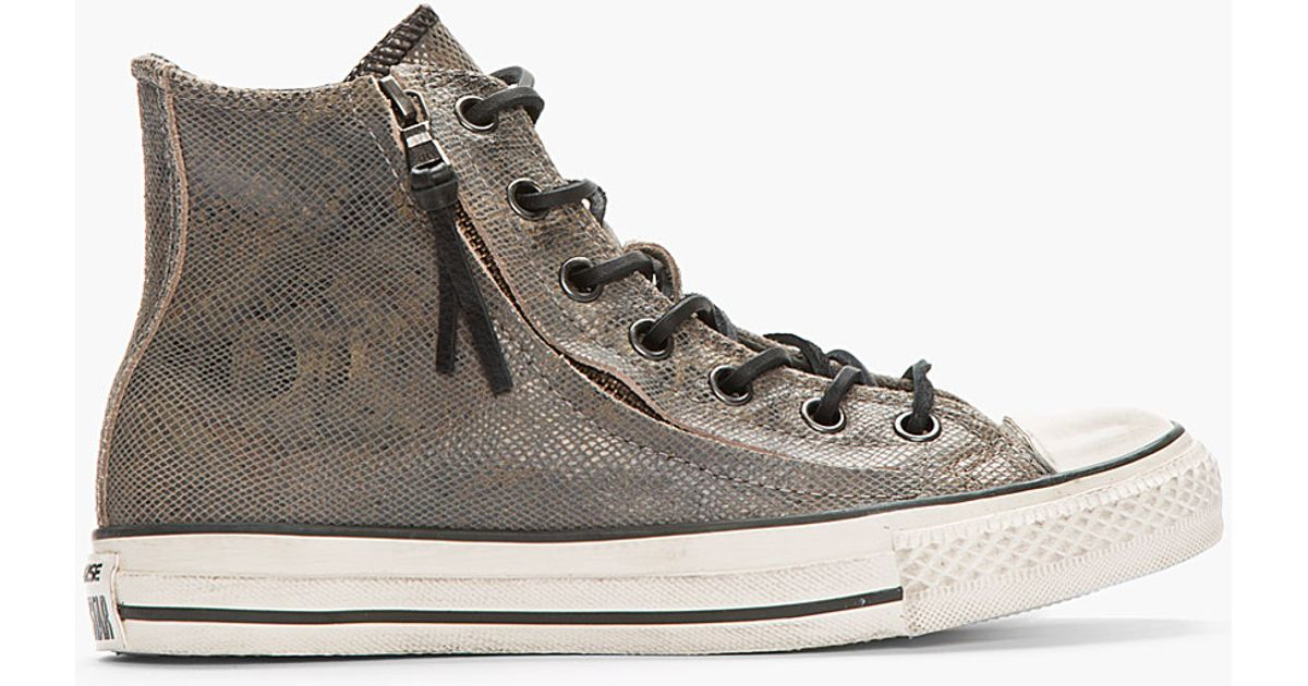 25835990d1e2 ... coupon code lyst converse dark grey snakeskin suede zippered converse x  all star high top sneakers