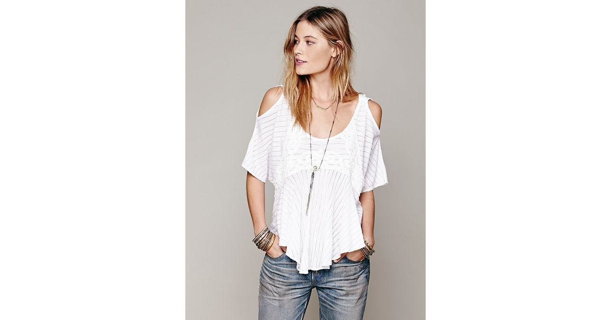 7d877bcdfb9c13 Lyst - Free People Dreamy Date Cold Shoulder Top in White